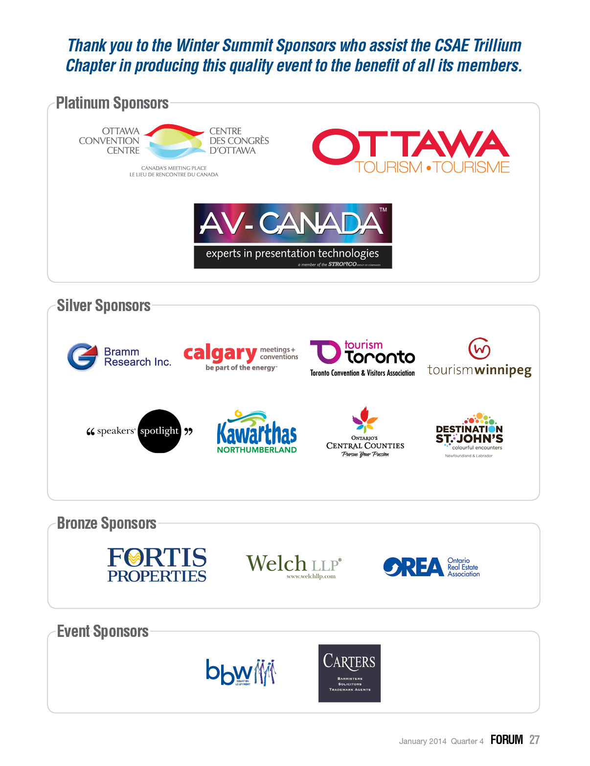 Winter Summit 2014 Sponsors